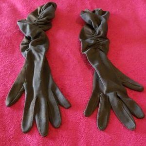 Vintage Ruched Brown Opera Gloves